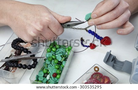 Things necessary to create bead work and jewellery