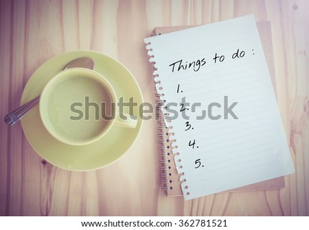 Things To Do List on paper - stock photo