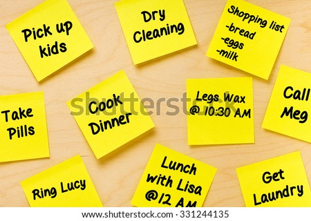 Things To Do Postits Memo for female tasks  - stock photo