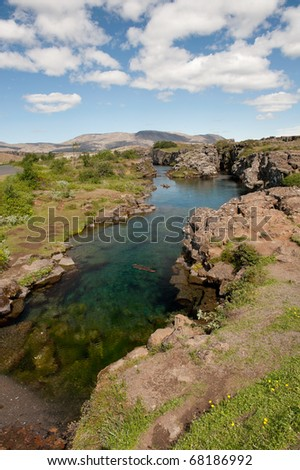 Thingvellir National park - canyon filled with water, Iceland - stock photo