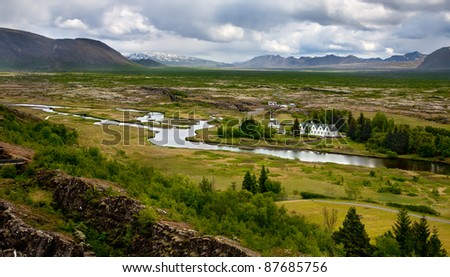 Thingvellir National Park - place where the first icelandic parliament (althing) seated. - stock photo
