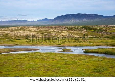 Thingvellir National Park rift valley. Iceland. - stock photo