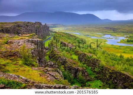 Thingvellir National Park rift valley in Iceland - stock photo