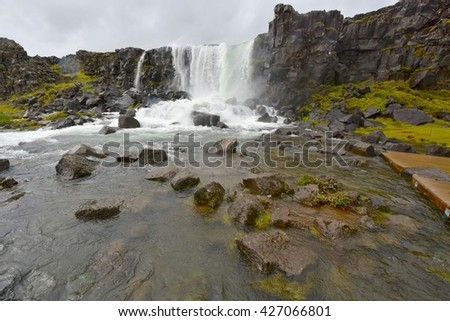 Thingvellir National Park Waterfalls in Iceland - stock photo