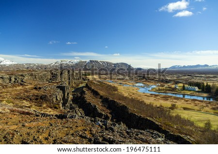 Thingvellir, the oldest parliament in the world, Iceland  - stock photo