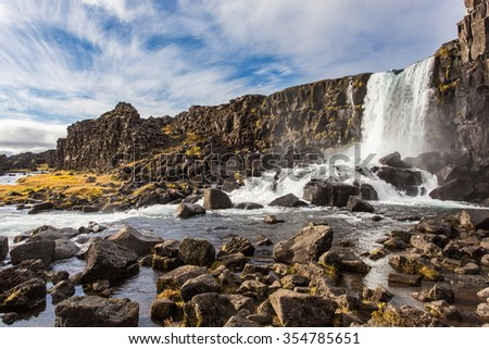 Thingvellir waterfall Iceland. Autumn landscape - stock photo