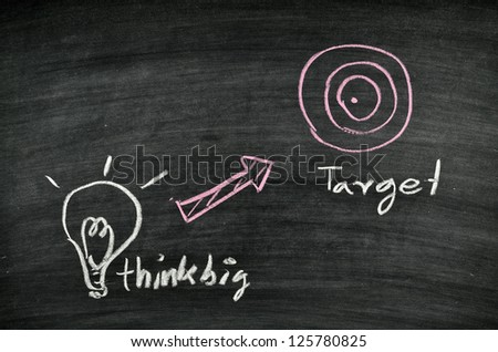 think big,light bulb and target on blackboard - stock photo