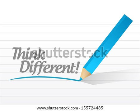 think different message illustration design over white - stock photo