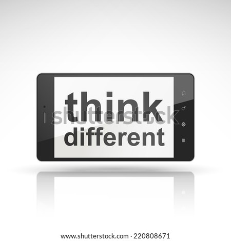 think different words on mobile phone isolated on white - stock photo
