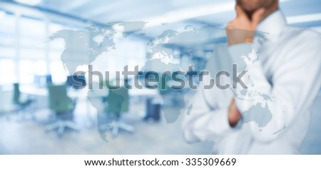 Think global and global communication concepts. Businessman, world map and office in background, wide banner composition.