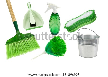think green and clean-dust pan,broom,spray bottle,brush,pail,duster on a white background - stock photo