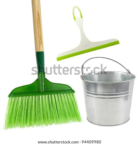 think green clean! broom,squeegee and pail on a white background - stock photo