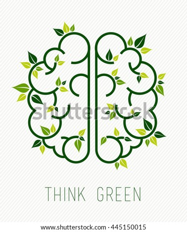 Think green concept design, simple human brain in line art style with nature elements and plant leaves. - stock photo