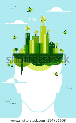 Think green concept: man head and green town illustration. - stock photo