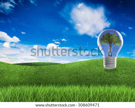think green concept with 3d rendered light bulb, tree, green field and blue sky