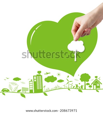 Think green concepts design on white background  - stock photo