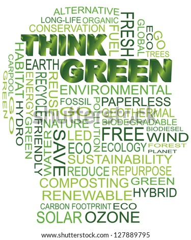 Think Green Eco Human Head Silhouette Word Cloud Isolated on White Background Illustration Raster Vector - stock photo