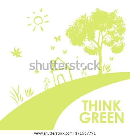 Think Green ecology concept with a house and a symbolic road - stock photo