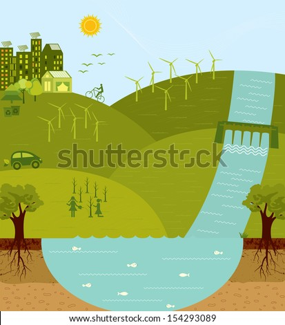 Think green, go green, sustainable environment - stock photo