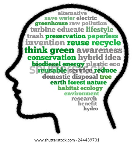 Think green in word collage - stock photo