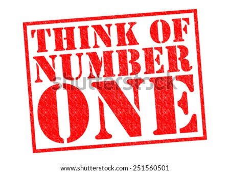 THINK OF NUMBER ONE red Rubber Stamp over a white background.