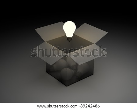 Think out of the box or thinking outside the box concept, one glowing light bulb float over the unlit incandescent bulbs in opened cardboard box