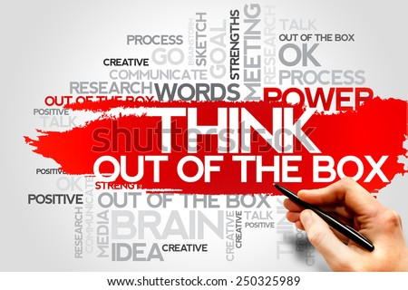 THINK OUT OF THE BOX word cloud, business concept - stock photo