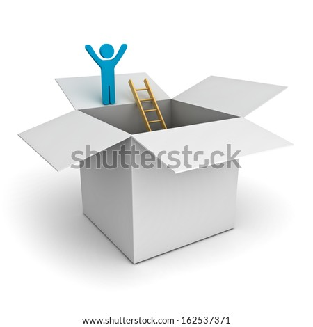 Think outside the box concept, man standing with arms wide open on top of the opened cardboard box over white background