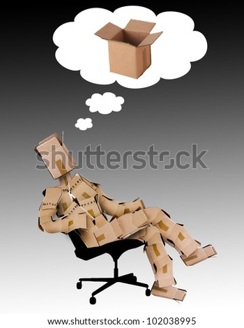 Think outside the box concept with the box man character - stock photo