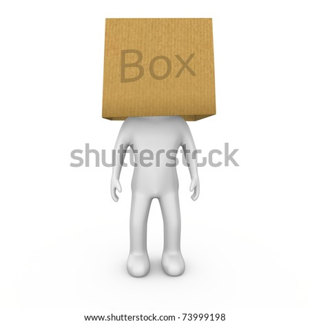 Think outside the box, dont be a boxhead - stock photo