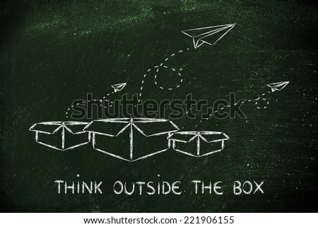 think outside the box for business success - stock photo