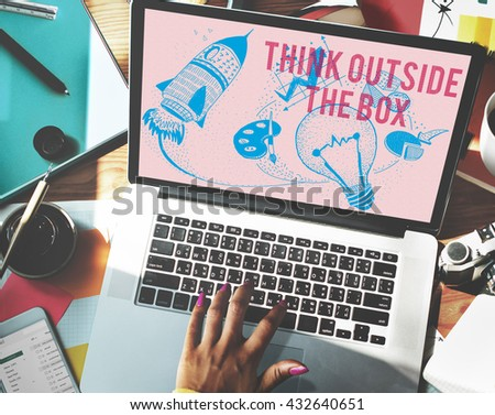 Think Outside The Box Ideas Creativity Imagination Concept - stock photo