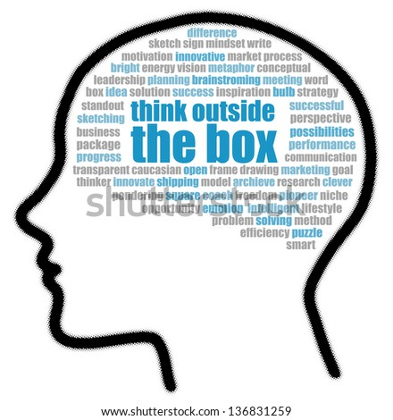 Think outside the box in speech bubble - stock photo