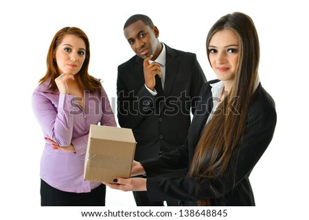 Think Outside the Box (looking at audience) - stock photo
