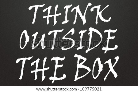 think outside the box title - stock photo