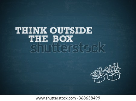 THINK OUTSIDE THE BOX with money box on blue chalk board , business concept , business idea - stock photo
