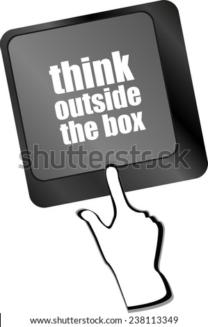 think outside the box words, message on enter key of keyboard - stock photo