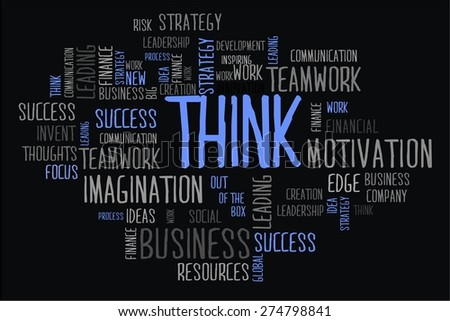 think word cloud business concept in black background