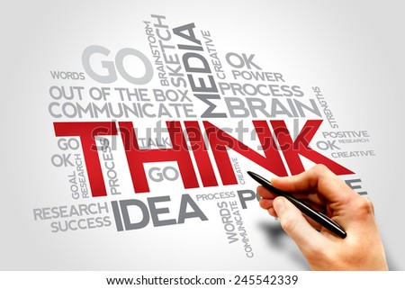 THINK words cloud, business concept  - stock photo