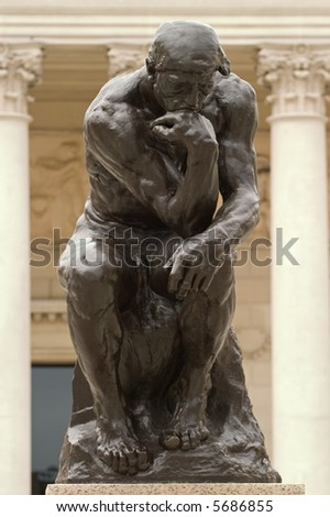 Thinker from the front - stock photo
