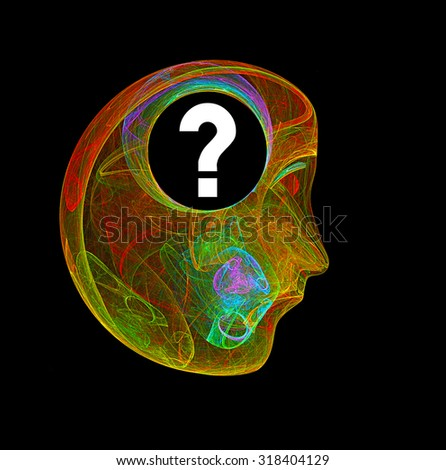 Thinker with question mark in his head abstract illustration - stock photo