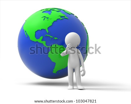 Thinking about earth/A person standing in front earth thinking