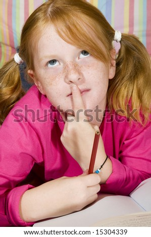 Thinking about homework - stock photo