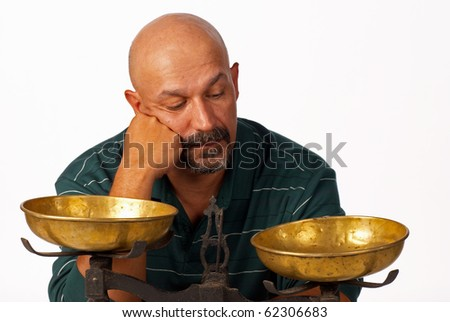 Thinking about the pros and cons - stock photo
