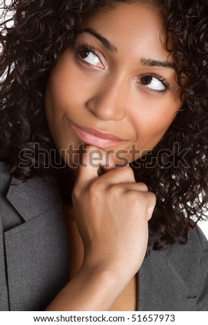 Thinking African American Woman - stock photo