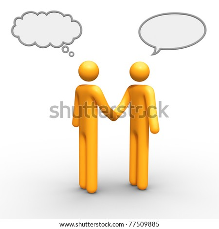 thinking and talking balloon together you can use which you want. - stock photo