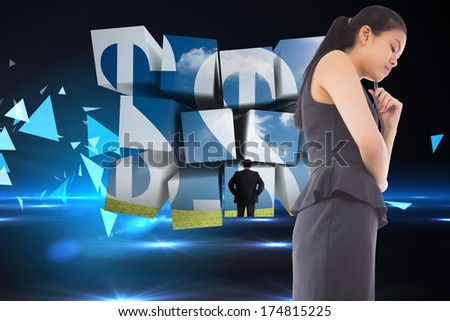 Thinking asian businesswoman against small pyramids on technical background - stock photo