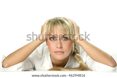 Thinking attractive young businesswoman - stock photo