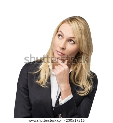 Thinking blonde business woman. Isolated on white background.  - stock photo