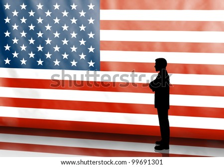 Thinking business man silhouette on american flag background - stock photo
